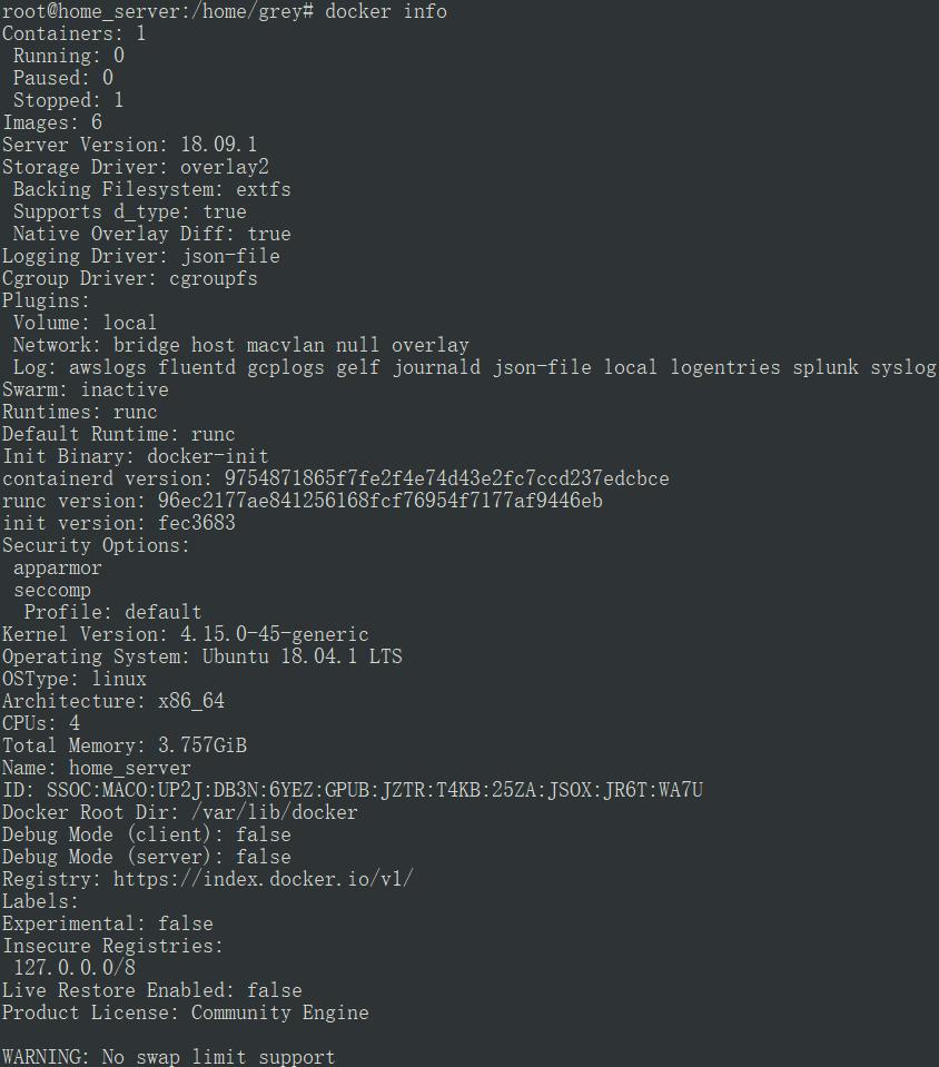 docker info 命令