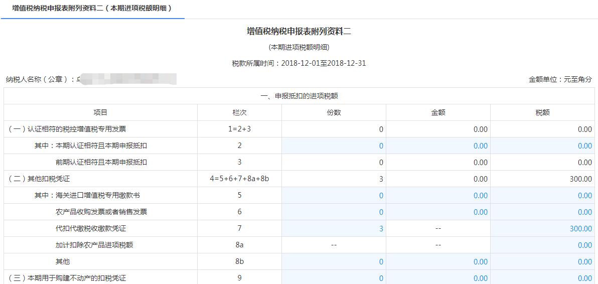 增值税纳税申报表附列资料二(本期进项税额明细)